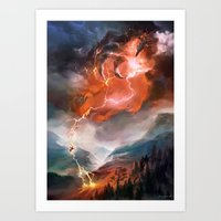 magic the gathering Art Prints featuring Lightning Bolt - Magic: The Gathering by vmeignaud