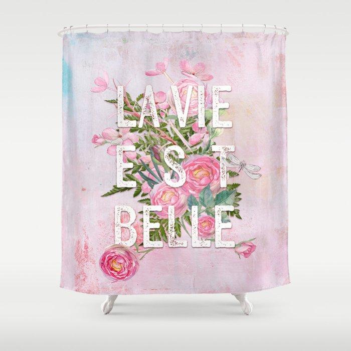 Lavie est belle watercolor pink flowers roses rose flower lavie est belle watercolor pink flowers roses rose flower shower curtain mightylinksfo