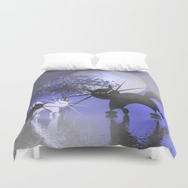 mooncats in a foggy night Duvet Cover