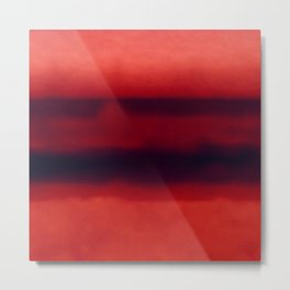 Warm Red Watercolor Abstract Metal Print