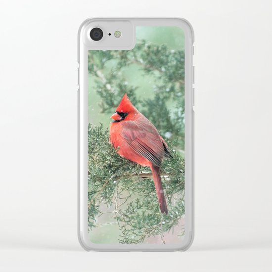 Christmas Bird (Northern Cardinal) Clear iPhone Case