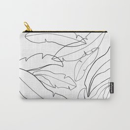 Black and White Banana Leaves Carry-All Pouch