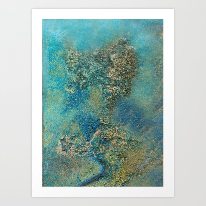 Philip Bowman Blue And Gold Modern Abstract Art Painting Art Print