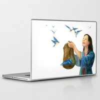 korean Laptop & iPad Skins featuring Korean Cinderella: Swallows by Jen Betton