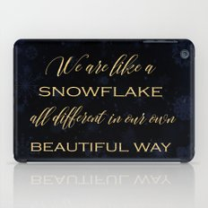 We are like a snowflake - gold glitter Typography on dark backround iPad Case