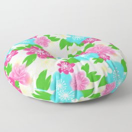 04 Pattern of Watercolor Flowers Floor Pillow
