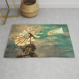 Rustic Windmill against Cloudy Sky Modern Country Art A520 Rug