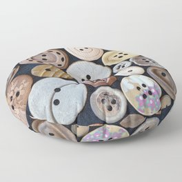 Wooden Buttons Floor Pillow