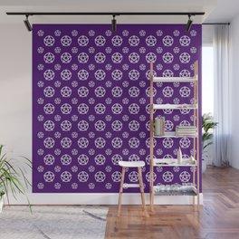 Dark Purple White Pentacle Pattern Wall Mural