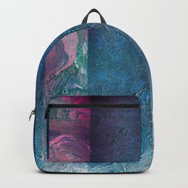 Atmosphere // blue magenta abstract textural painting, modern Backpack