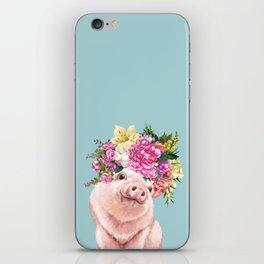 Flower Crown Baby Pig in Blue iPhone Skin