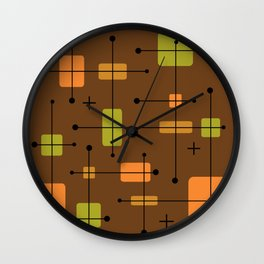 Rounded Rectangles Squares Earth Tones 2 Wall Clock