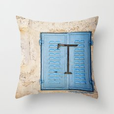 Vibrant Blue Window in Stone Wall Throw Pillow