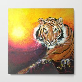 Awaiting the Darkness of Night (Male Tiger) Metal Print