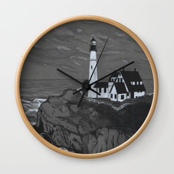 Darrell Merrill Nerd Artist LIGHTHOUSE Wall Clock
