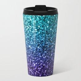 Beautiful Aqua blue Ombre glitter sparkles Travel Mug