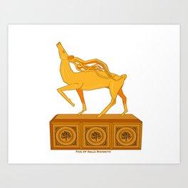 Halla statuette gold Art Print
