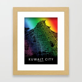 Kuwait City, Kuwait, City, Map, Rainbow, Map, Art, Print Framed Art Print
