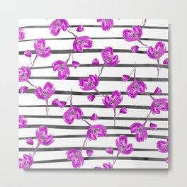 Purple lavender modern girly hand painted floral watercolor grey stripes pattern Metal Print
