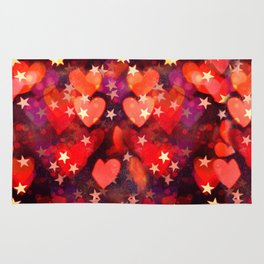 Hearts and stars Valentine bokeh lights sparkle - love heart red glam Rug