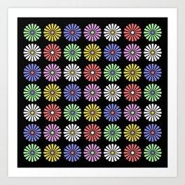 Pastel Flowers Pattern (On Black) Art Print