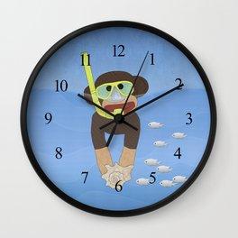 Sock Monkey Snorkeling Wall Clock