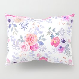 Pink lavender watercolor hand painted roses floral Pillow Sham