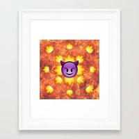 emoji Framed Art Prints featuring Devil Emoji by jajoão