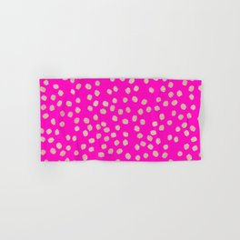 Modern rose gold glitter polka dots neon pink attern Hand & Bath Towel