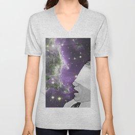 People of the Universe-Nebula Blindfold-Purple Unisex V-Neck