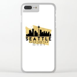 SEATTLE WASHINGTON SILHOUETTE SKYLINE MAP ART Clear iPhone Case