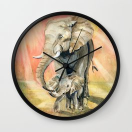Mom and Baby Elephant Wall Clock