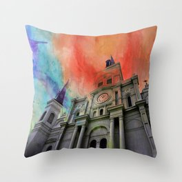 Water Color Cathedral Throw Pillow