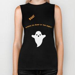 Boo Ghost For Halloween Biker Tank