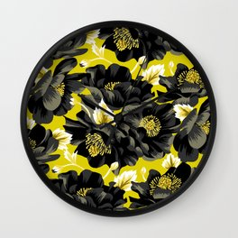 Mount Cook Lily - Yellow/Black Wall Clock