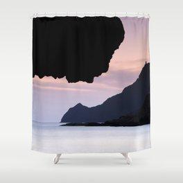 Half Moon beach. Vela tower cliff. Shower Curtain