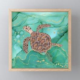Precious Hawksbill Sea Turtle Swimming in the Emerald Ocean Framed Mini Art Print
