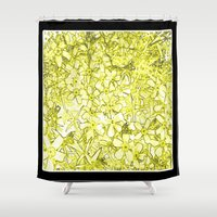 yellow pattern Shower Curtains featuring Yellow Flox Pattern by Tru Images Photo Art