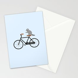 Raccoon Riding Bike Stationery Cards