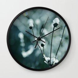 Blue frozen plants Wall Clock