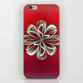 Cyan Bloom on Red iPhone Skin