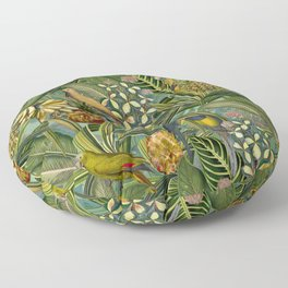 Vintage & Shabby Chic - Green Tropical Bird Flower Garden Floor Pillow
