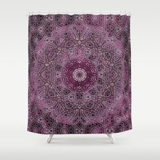 Vintage Merlot Lace Mandala Shower Curtain