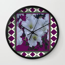 Purple Lattice Pattern White Petunia Flowers Art Wall Clock
