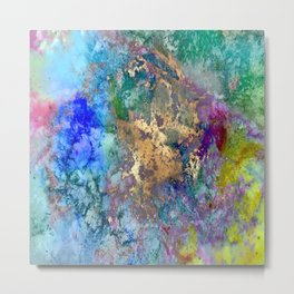 Galaxy, abstract, gold accent Metal Print