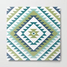 Aztec Motif Diamond Teals White Blue Lime Metal Print