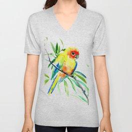 Sun Conure Parakeet, tropical yellow green bird decor Unisex V-Neck