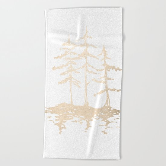 Three Sisters Forest White Gold Trees Beach Towel