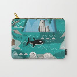 Arctic animals teal Carry-All Pouch
