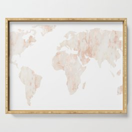 Marble World Map Light Pink Rose Gold Shimmer Serving Tray